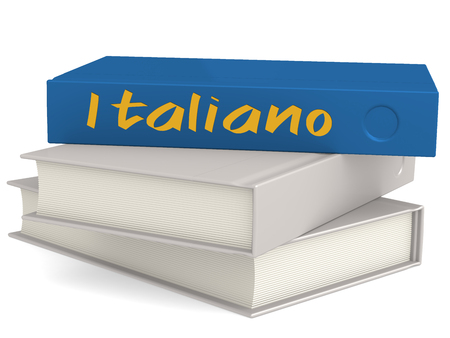 Hard cover books with Italiano word, 3D rendering