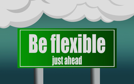 Be flexible word with exit highway street sign, 3D rendering Stock Photo
