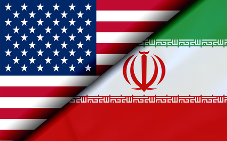 Flags of the USA and Iran Divided Diagonally. 3D rendering