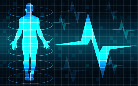 Human body with heart beat pulse, 3D rendering Stock Photo