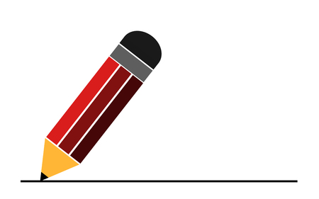 Pencil flat icon with black line, 3D rendering