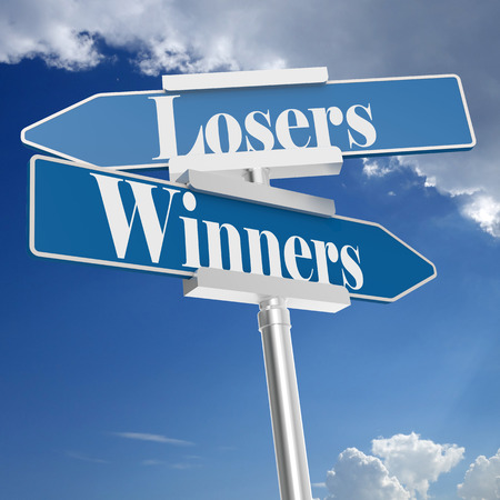 Winners or Losers signs, isolated on white. 3D rendering Stock Photo - 124852536