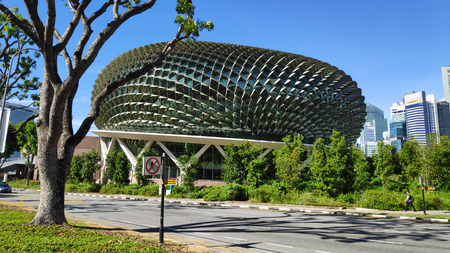 SINGAPORE- 03 JUN, 2019: Esplanade theaters on the bay with blue sky in Singapore