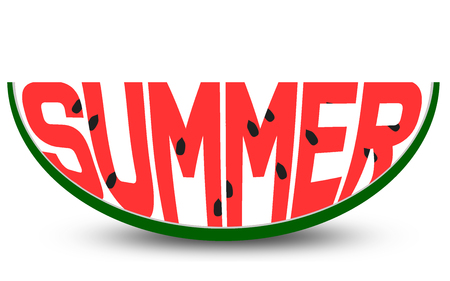 Summer word carved in a slice of watermelon , 3D rendering
