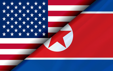 Flags of the USA and North Korea divided diagonally. 3D rendering Banco de Imagens