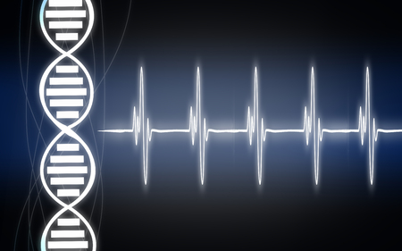 Heartbeat cardiogram with DNA strand, 3D rendering Фото со стока
