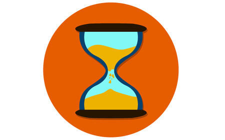 Flat design of sand clock icon, 3D rendering Stock Photo