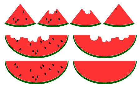 Slices of watermelon isolated on white background, 3D rendering