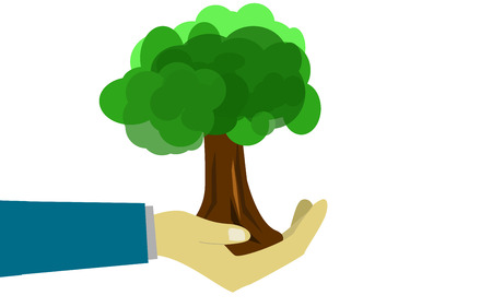 Human hand hold green tree, 3D rendering