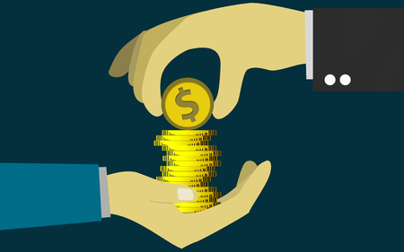 Hand putting coins in other hand, 3D rendering Stock Photo