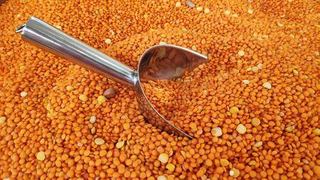 Close up of the red lentils on market Reklamní fotografie