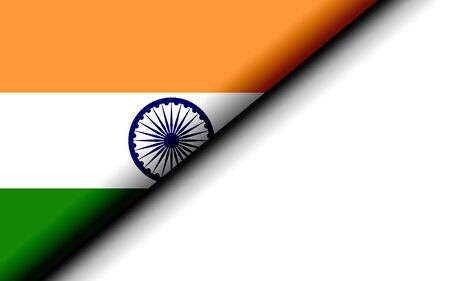 India flag folded in half. 3D rendering