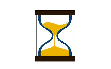 Flat design of hourglass icon, 3D rendering Stock Photo