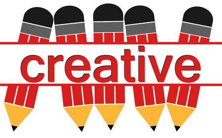 Creative word with pencil , 3D rendering Banco de Imagens