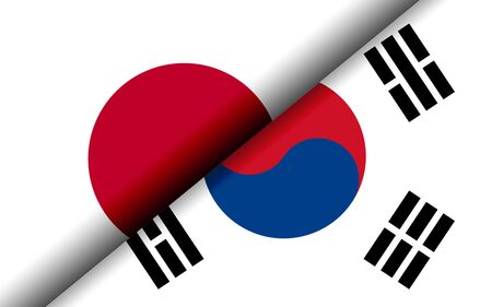 Flags of the Japan and South Korea divided diagonally. 3D rendering