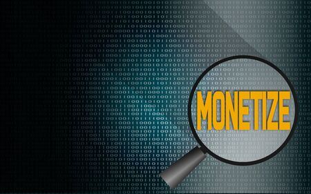 Monetize word with binary background, 3D rendering Stock Photo