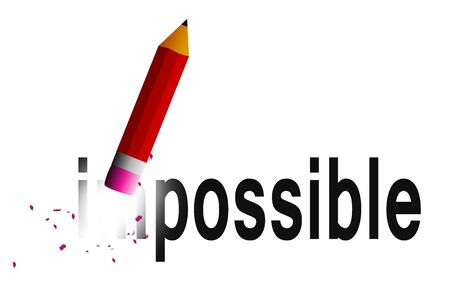 Change impossible to possible with pencil eraser isolated, 3D rendering