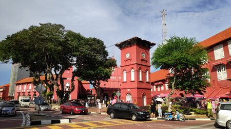 MELAKA, MALAYSIA - 25 JUN, 2019: Day view of Christ Church & Dutch Square in Malacca Malaysia. Melaka is one of the most popular tourist destinations within Malaysia.