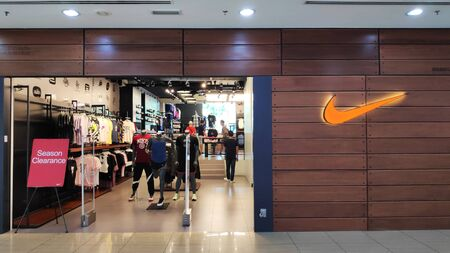 MELAKA, MALAYSIA - 25 JUN, 2019: Nike Shop located in Dataran Pahlawan Melaka Megamall, Melaka. Nike, Inc is an American multinational corporation Editorial