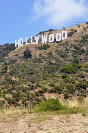 LOS ANGELES, USA- JULY 2, 2019: Located in Hollywood Hills at Mount Lee the world famous landmark Hollywood Sign in Los Angeles, California.