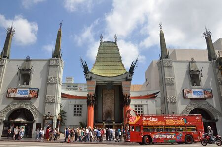LOS ANGELES, USA- JULY 2019: TLC Chinese Theater's entrance full of tourists in Los Angeles, USA. Editorial