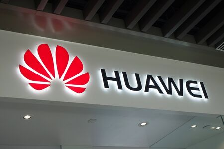 Singapore, 27 Jul, 2019: Signboard of a Huawei store in Singapore. Huawei is a Chinese multinational technology company that provides telecommunications equipment and sells consumer electronics