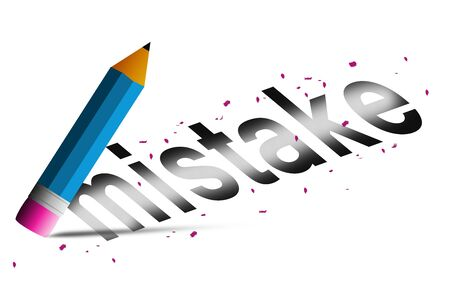 Erase mistake word with  pencil eraser isolated, 3D rendering