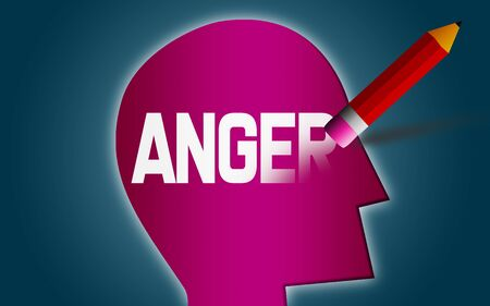 Erase anger word from human head, 3D rendering Фото со стока