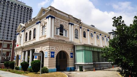 Singapore- 11 Aug, 2019: View of Freemasons Hall on Coleman Street in Singapore. It was constructed in 1879