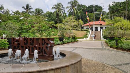Singapore- 11 Aug, 2019: Raffles Garden at Fort Canning Park. It is one of the nine historical gardens at Fort Canning Park in Singapore