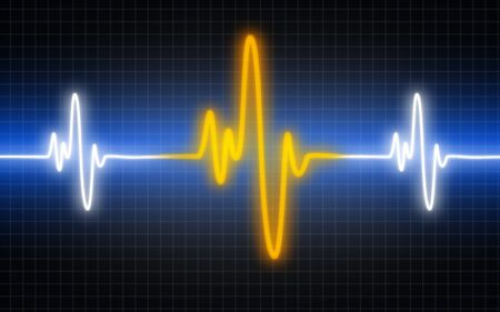 Illustration of a heart machine display, 3D rendering