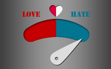 Love and hate gauge concept , 3D rendering