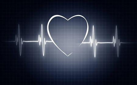 Illustration of life line forming heart shapel, 3D rendering Stock Illustration - 128958934