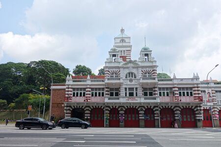 Singapore- 11 Aug, 2019: The historical Central Fire Station with unique English designs since the early colonial days. The Central Fire Station is the oldest existing fire station in Singapore