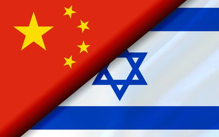 Flags of the China and Israel divided diagonally. 3D rendering Фото со стока