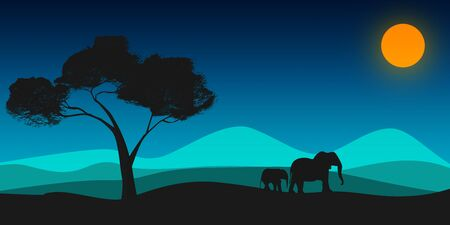 Black silhouette of elephant and tree, 3D rendering
