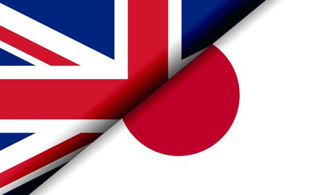 Flags of the UK and Japan divided diagonally. 3D rendering