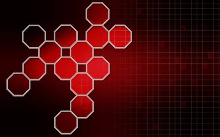 Hexagonal structures in red background,3D rendering