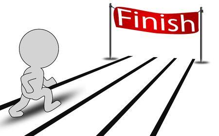 Person run toward the finishing line, 3D rendering Zdjęcie Seryjne
