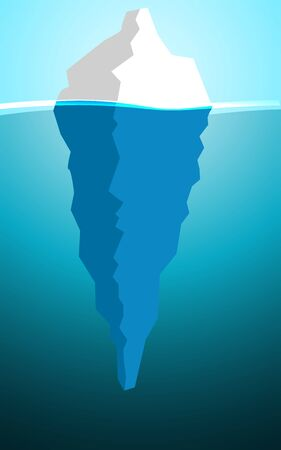 Iceberg in the ocean with a view under water, 3D rendering