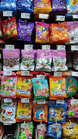 Johor Bahru, Malaysia - Aug 30, 2019 : A view of a candy and snack shelf in a retail store in Johor Bahru Malaysia.