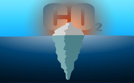 Iceberg and CO2 gas for climate change concept, 3D rendering