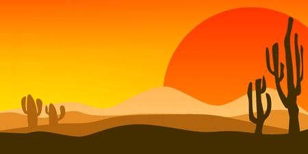 Desert landscape at sunset with cactus, 3D rendering 写真素材