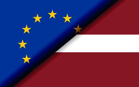 Flags of the EU and Latvia divided diagonally. 3D rendering