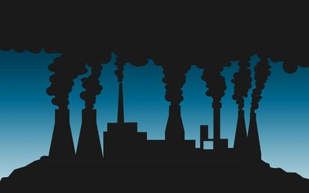 Silhouette of smoking industrial plant, 3D rendering 스톡 콘텐츠