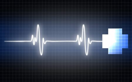 Heartbeat sign with medical cross, 3D rendering