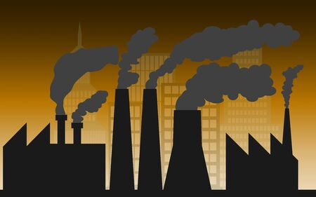 City and industry with air pollution, 3D rendering