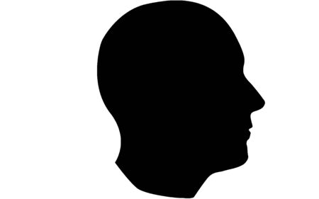 Human head silhouette icon in black and white, 3D rendering Reklamní fotografie