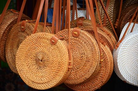 Balinese traditional handmade rattan woven round shoulder bags