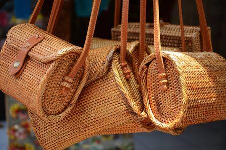 Balinese traditional handmade rattan woven shoulder bags